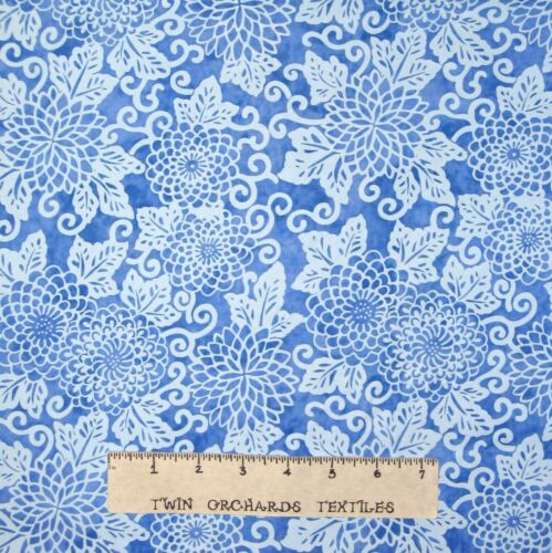 Light Blue Floral Riverwoods Fabric Midnight Blue Cotton YARD