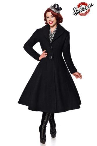 Belsira Damen Mantel Wollmantel schwarz 36 38 40 42 44 46 48 Retro Vintage