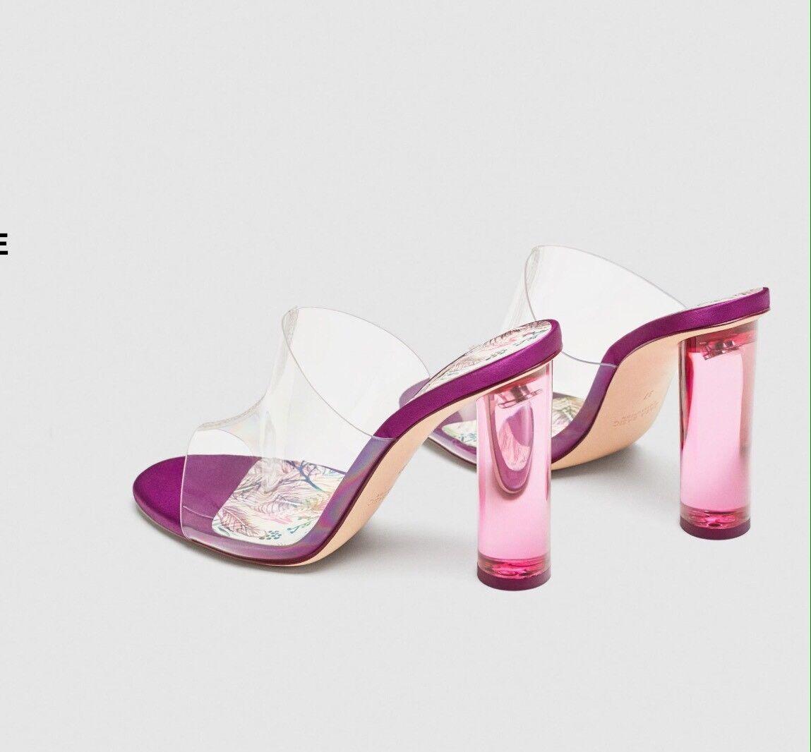 Trend! Schöne ZARA SandaleTransparent mit ABSATZ AUS ACRYLGLAS, Neu!