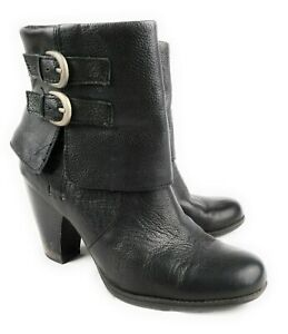 Born-Black-Leather-Traipse-Block-Heel-Ankle-Boots-Buckles-Side-Zip-Women-039-s-10