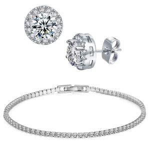 CZ-by-Kenneth-Jay-Lane-Womens-Silver-Round-Tennis-Bracelet-Jewelry-O-S-BHFO-1110