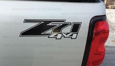 2007 - 2013 Chevy Silverado Z71 4x4 decals - FBLK GM HD black stickers set side
