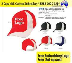 official photos 415a9 75876 Image is loading 3-Custom-Embroidered-Caps-Hats-FREE-LOGO-Embroidery-