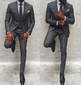 Men Gray Slim Fit Groom Formal Suit Best Man Wedding Suit Tuxedos ...