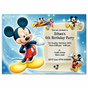 Image Is Loading I057 DisneyMickeyMouse Personalised Birthday Invites 1st 2nd 3rd