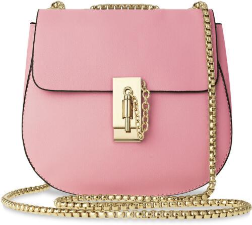 Schicke Schultertasche mit Kettenriemen Damentaschen Umhängetasche Rosa