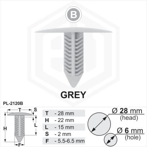10 x Grey Plastic Fir Tree Trim Clips 6mm Hole 28mm Head Car Van Panel Fastener