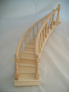 Image Is Loading SPIRAL STAIRCASE Classic Wood Dollhouse Miniature  Right CLA70222