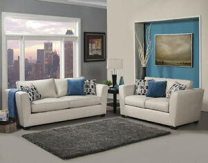 Details about Elegant Modern Comfortable Beige Chenille Fabric Sofa  Loveseat Set Made in USA