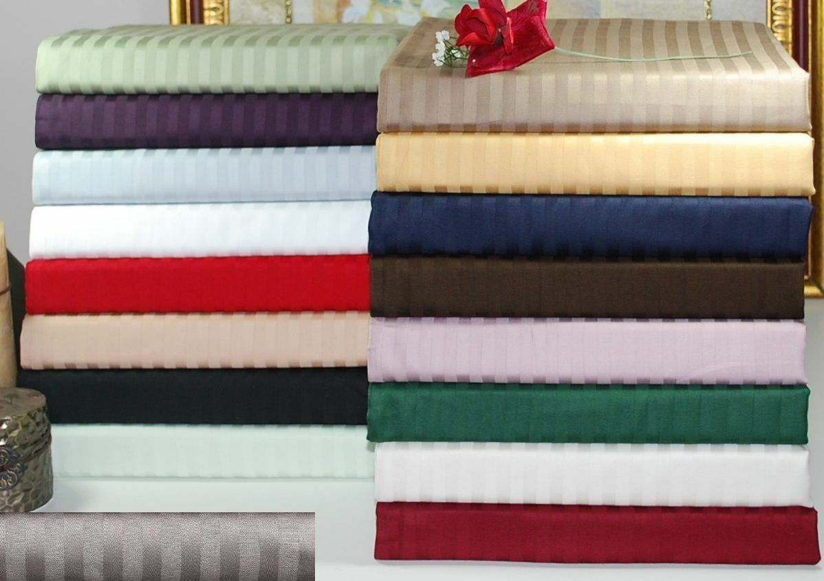 4 PC Sheet Set RV Camper&Bunk US Sizes Striped colors 1000TC Egyptian Cotton