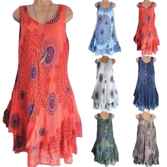 Plus Size Women's Boho Floral Vintage Dress Sleeveless Party Cocktail Vest Dress