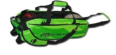 Vise 3 Ball Tote Bowling Bag with tow wheels Color Grape//Green