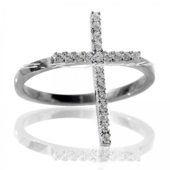 0.47CT NATURAL ROUND DIAMOND 14K SOLID WHITE gold WEDDING ANNIVERSARY CROSS RING