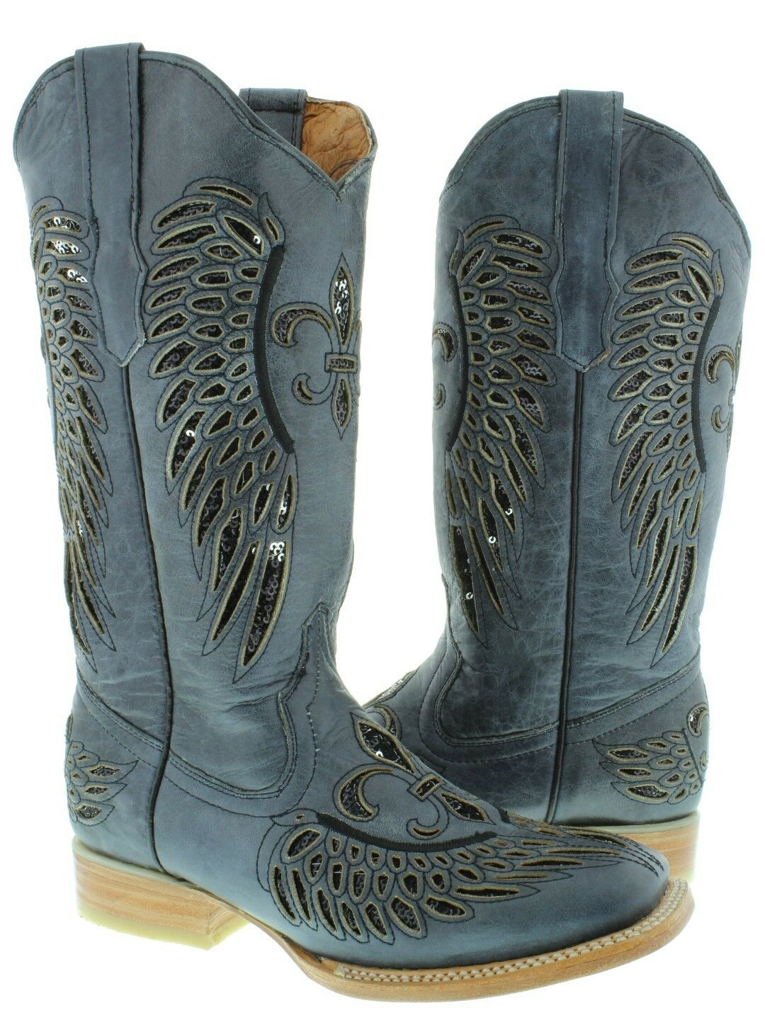 Womens Denim bluee Black Flower Wings Sequins Leather Cowgirl Boots Square Toe