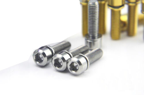 Gaskets 4pcs Titanium M5 *16//18//20mm Bike Stem Bolts Screws Cylindrical Head