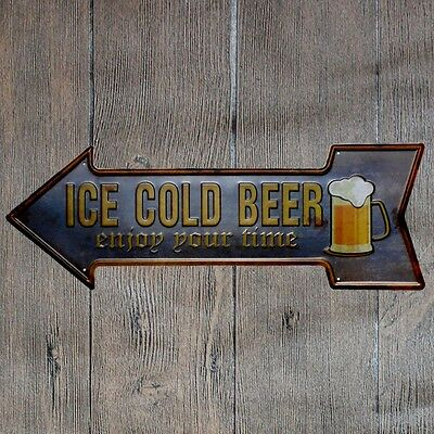 Metal Tin Sign ice cold beer Bar Pub Vintage Retro Poster Cafe ART