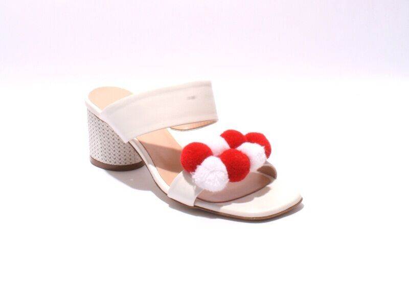 Isabelle 560 White / Red Pelle Strappy Pom Pom Slides Sandals 38.5 /   8.5