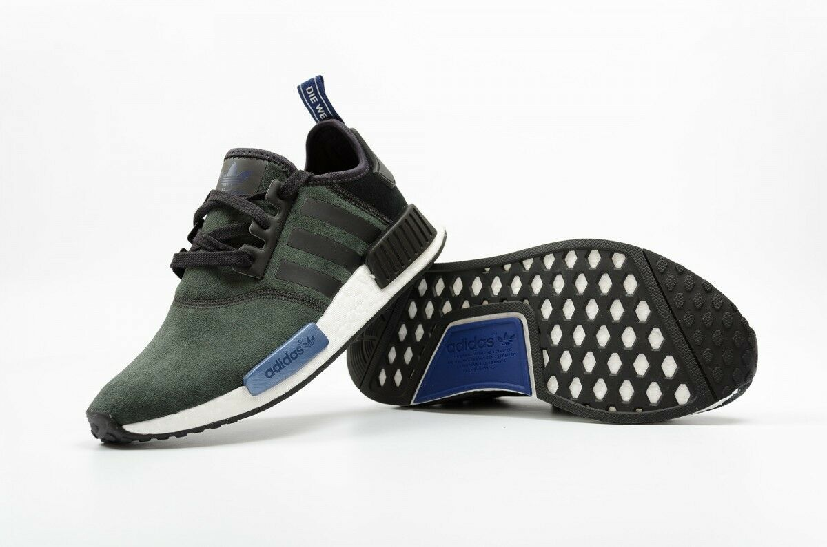 New Adidas NMD R1 Suede S75230 Olive Black Grey Blue Women's 8.5 = Men's 7 LTD