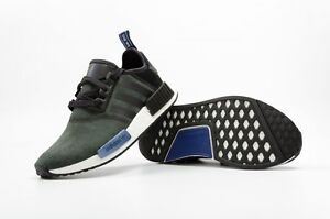 8631323cc843c New Adidas NMD R1 Suede S75230 Olive Black Grey Blue Women s 8.5 ...