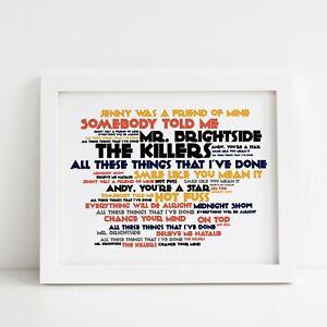 Framed Original Art Album Print Lyrics Gift Hot Fuss The Killers Poster