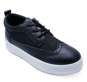 0b10e7f9a00 Image is loading WOMENS-BLACK-LACE-UP-LOAFERS-TRAINERS-PLATFORM-BROGUES-