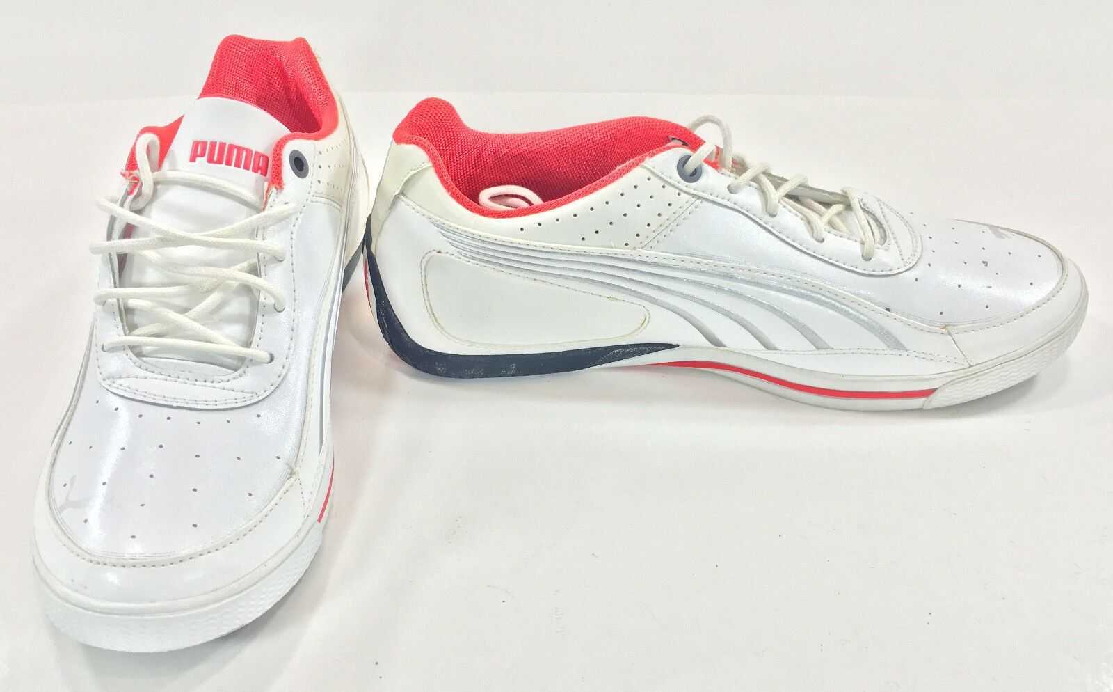 Puma shoes SL Street Lo Basic White Red Silver Sneakers Size 8