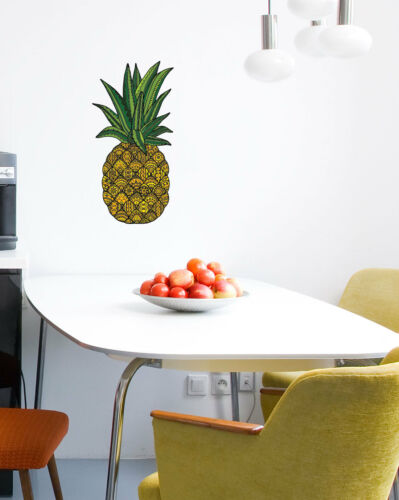 """Patterned Pineapple Tropical Vinyl Wall Decal ©YYDC LG CLR:FLAT 6/""""w x12/""""h"""