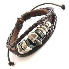 Lederarmband braun Totenkopf leather bracelet skull Wickelarmband Bikerarmband