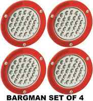 Bargman Set Of 4 (four) 4 Round Led Trailer Tail Lamp W/ Mount Flange 54200-012