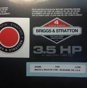 Briggs-amp-Stratton-3-5-hp-1978-1980-Shroud-Labels-Decals-set-of-3
