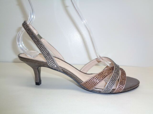 9cab7a37cebf Pelle Moda Size 7.5 ZARIA Rose Taupe Silk Crystal Heels Sandals New Womens  Shoes