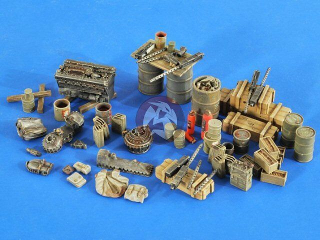 Verlinden 1 48 USAAF Airbase Accessories WWII with 3 Mechanic Figures 2586