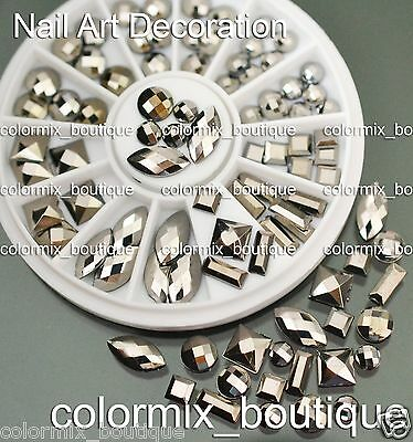 3D Rivets Nail Art Tips Decoration Square Round Oval Metallic Studs+Wheel  #S17