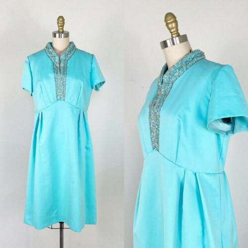 1960s party dress / Turquoise Beaded Dress / Cockt