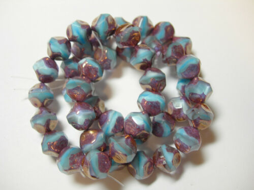 15 9mm Baby Blue Bronze Firepolished Thru Cuts Czech Glass Beads