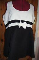 Maternity Pretty Black/white Sleeveless Bow Detail Linen Blend Top Size 10