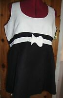 Maternity Pretty Black/white Sleeveless Bow Detail Linen Blend Top Size 14