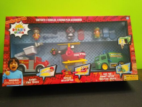 Ryan/'s World 3 Vehicle Value Pack Fire Truck Helicopter Recycle Truck NIB