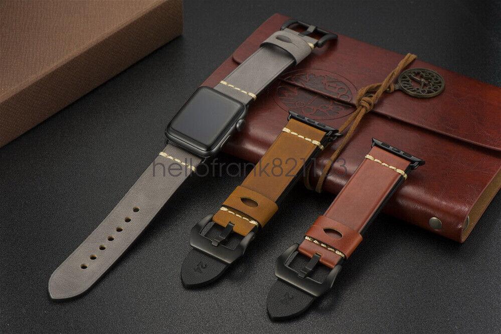 iwatch: 44mm/42 Morbido Retro Pelle Cinturino per Apple Watch Band iWatch Series 6/5/4/3