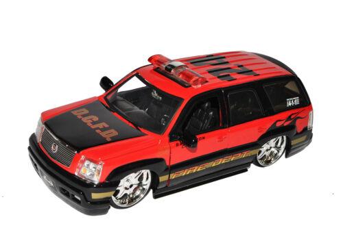 Cadillac Escalade Fire Dept Feuerwehr Rot 2002 1//24 Jada Modell Auto mit oder ..
