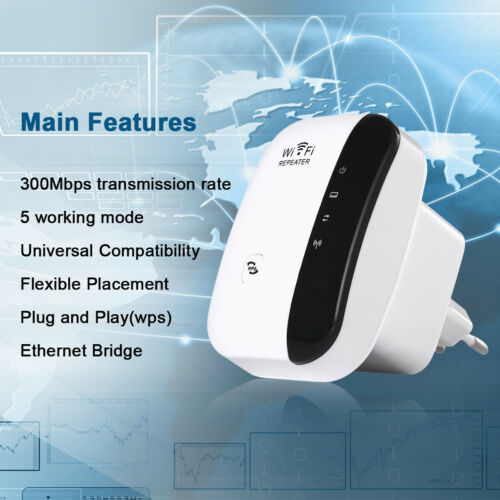 300Mbps Wifi Repeater Wireless-N 802.11 Signal Booster Range Extender AP Router