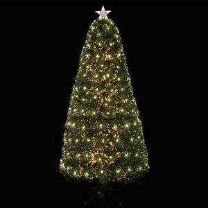 Artificial Christmas Tree Sizes.Details About Pre Lit Artificial Christmas Tree Fibre Optic With Warm White Leds 5ft 6ft Size