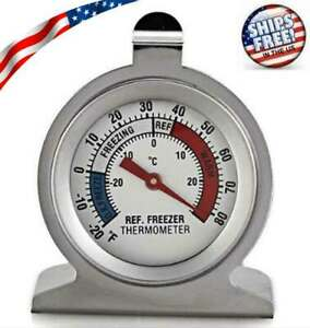 Refrigerator-Freezer-Thermometer-Fridge-DIAL-Type-Stainless-Steel-Hang-Stand-NEW