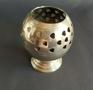 Candle Holder Silver Coulor Heart Holes