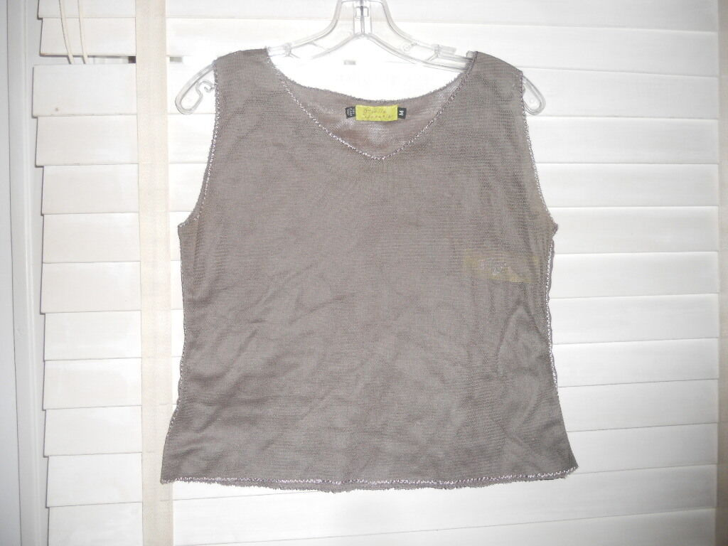 NWOT Giselle Shepatin SF  Art to WearLagenlook Taupe Mesh Tank Cami Shell  M