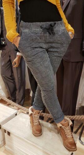 Damen Hose kariert Freizeithose Einheitsgröße Crash mit Gummiband Umstandshose