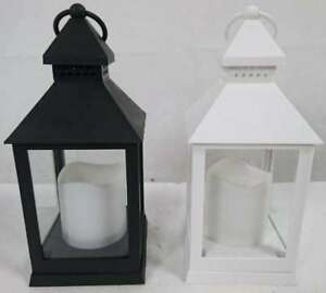 New-Plain-Colour-Light-Up-Lantern-Candle-Holder-Home-Decor-Black-White-Xmas-Gift