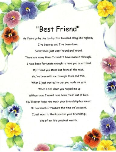 Best Friends Verse Inspirational Poem Plaque Print Laminated that can be frame