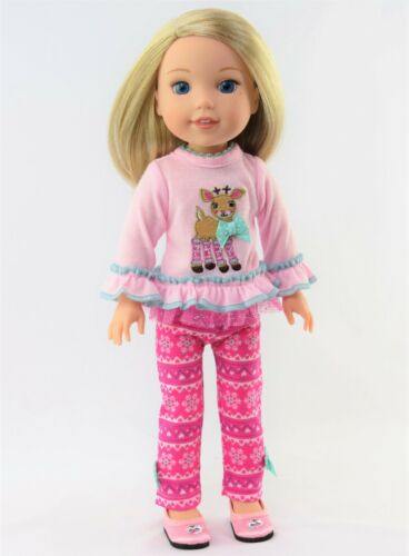 """Pink Reindeer Snowflake Pant Set Fits Wellie Wishers 14.5/"""" American Girl Clothes"""