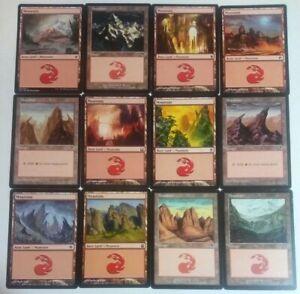 MTG Lot of 12 Unique Mountain Land cards, Varied No Repeats Fast Ship Magic LotA